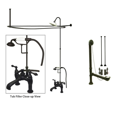 Oil Rubbed Bronze Clawfoot Tub Faucet Shower Kit with Enclosure Curtain Rod 603T5CTS