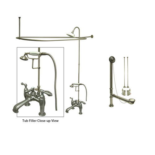 Satin Nickel Clawfoot Tub Faucet Shower Kit with Enclosure Curtain Rod 603T8CTS