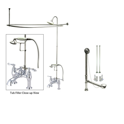 Chrome Faucet Clawfoot Tub Shower Kit with Enclosure Curtain Rod 604T1CTS