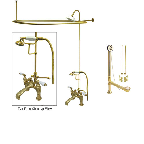 Polished Brass Clawfoot Tub Faucet Shower Kit with Enclosure Curtain Rod 605T2CTS