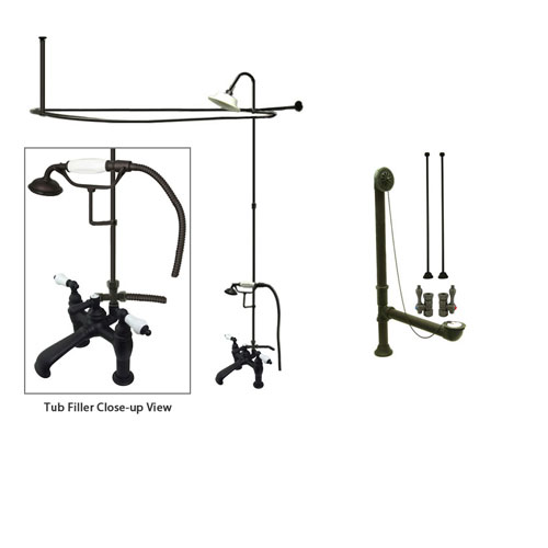 Oil Rubbed Bronze Clawfoot Tub Faucet Shower Kit with Enclosure Curtain Rod 605T5CTS