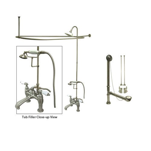 Satin Nickel Clawfoot Tub Faucet Shower Kit with Enclosure Curtain Rod 605T8CTS
