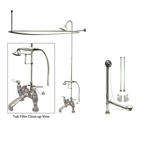 Chrome Clawfoot Bathtub Faucet Shower Kit with Enclosure Curtain Rod 606T1CTS