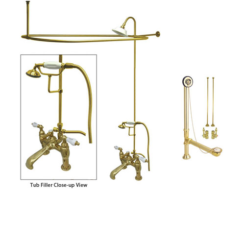 Polished Brass Clawfoot Tub Faucet Shower Kit with Enclosure Curtain Rod 607T2CTS