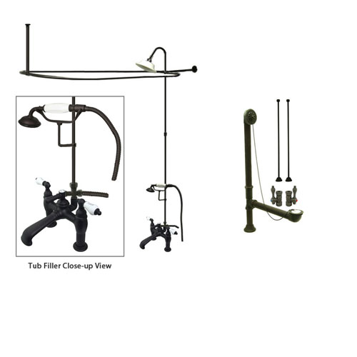 Oil Rubbed Bronze Clawfoot Tub Faucet Shower Kit with Enclosure Curtain Rod 607T5CTS