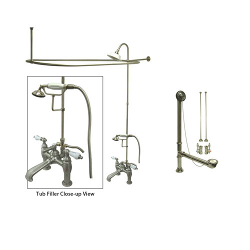 Satin Nickel Clawfoot Tub Faucet Shower Kit with Enclosure Curtain Rod 607T8CTS