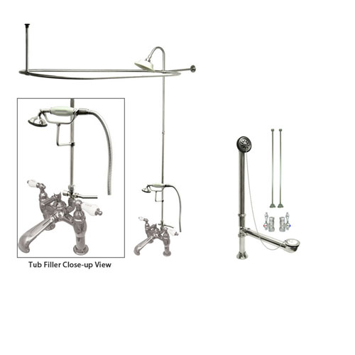 Chrome Clawfoot Tub Shower Faucet Kit with Enclosure Curtain Rod 608T1CTS