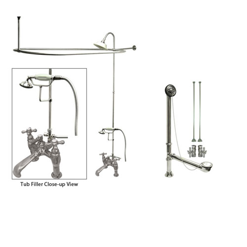 Chrome Clawfoot Tub Faucet Shower Kit with Enclosure Curtain Rod 610T1CTS