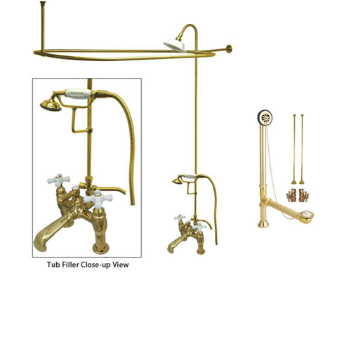 Polished Brass Clawfoot Tub Faucet Shower Kit with Enclosure Curtain Rod 611T2CTS