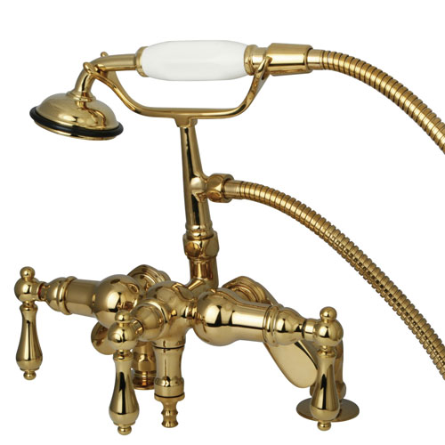 Kingston Polished Brass Deck Mount Clawfoot Tub Faucet with Hand Shower CC619T2