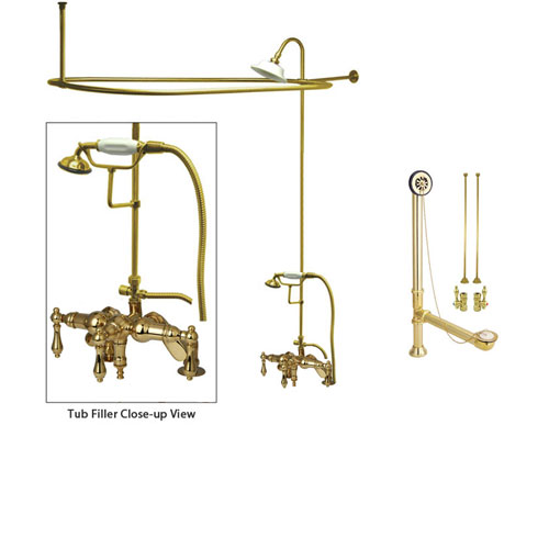 Polished Brass Clawfoot Tub Faucet Shower Kit with Enclosure Curtain Rod 619T2CTS