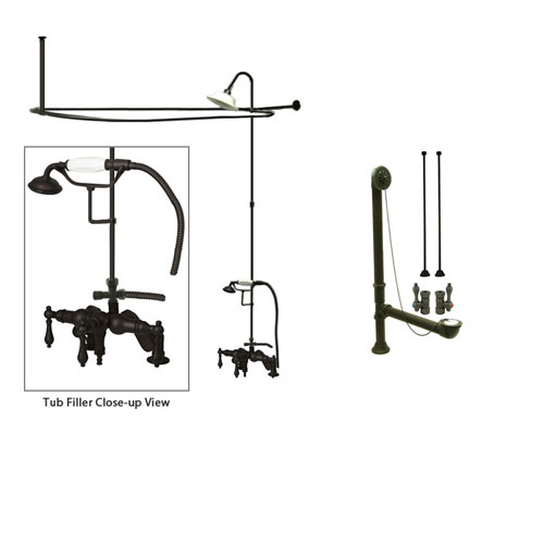 Oil Rubbed Bronze Clawfoot Tub Faucet Shower Kit with Enclosure Curtain Rod 619T5CTS