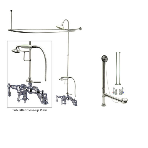 Chrome Clawfoot Tub Faucet Shower Kit with Enclosure Curtain Rod 620T1CTS
