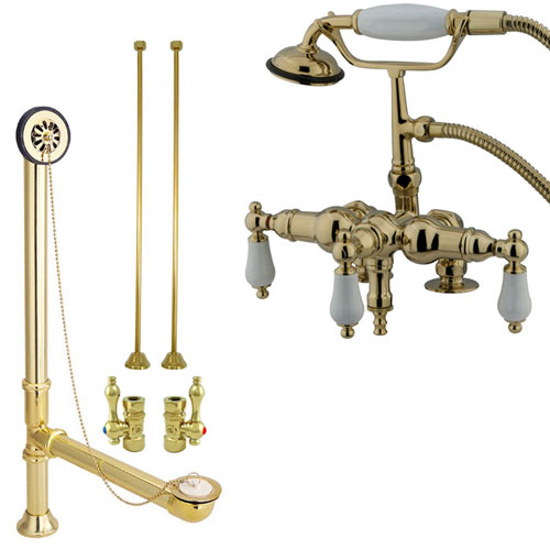 Polished Brass Deck Mount Clawfoot Tub Filler Faucet w Hand Shower Package CC621T2system