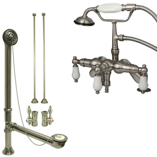 Satin Nickel Deck Mount Clawfoot Tub Filler Faucet w Hand Shower Package CC621T8system