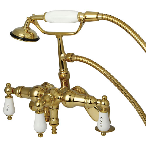 Kingston Polished Brass Deck Mount Clawfoot Tub Faucet w Hand Shower CC623T2