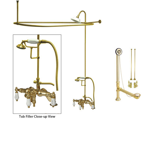 Polished Brass Clawfoot Tub Faucet Shower Kit with Enclosure Curtain Rod 623T2CTS