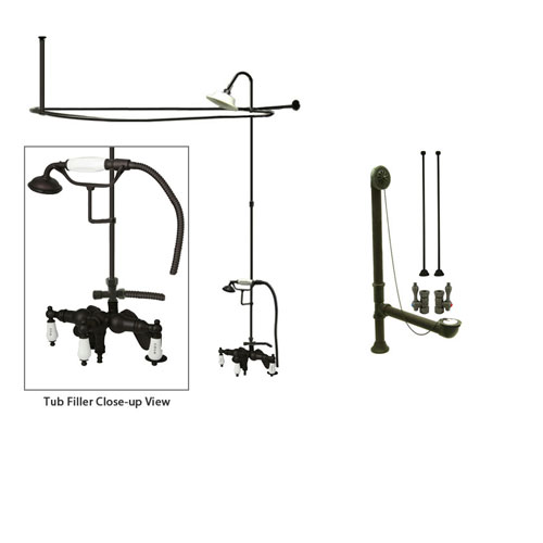 Oil Rubbed Bronze Clawfoot Tub Faucet Shower Kit with Enclosure Curtain Rod 623T5CTS
