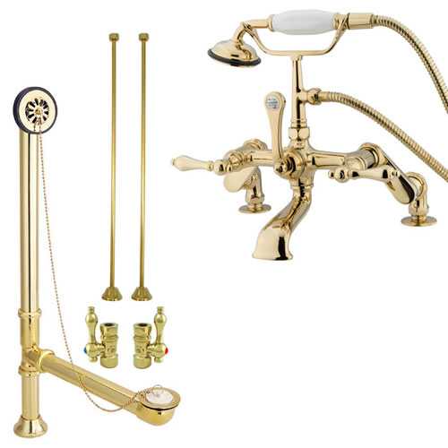 Polished Brass Deck Mount Clawfoot Tub Filler Faucet w Hand Shower Package CC651T2system