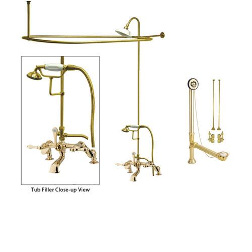 Polished Brass Clawfoot Tub Faucet Shower Kit with Enclosure Curtain Rod 651T2CTS