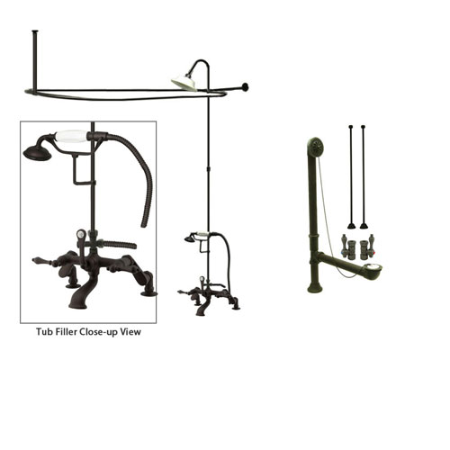 Oil Rubbed Bronze Clawfoot Tub Faucet Shower Kit with Enclosure Curtain Rod 651T5CTS