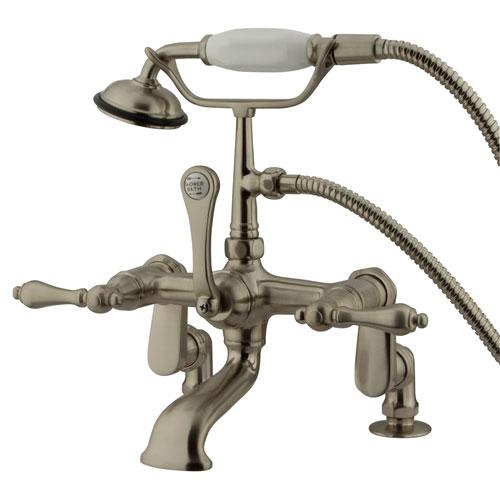 Kingston Brass Satin Nickel Deck Mount Clawfoot Tub Faucet w Hand Shower CC651T8