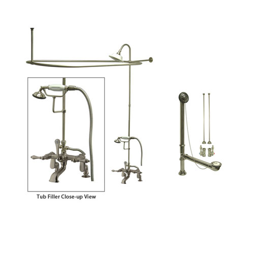Satin Nickel Clawfoot Tub Faucet Shower Kit with Enclosure Curtain Rod 651T8CTS