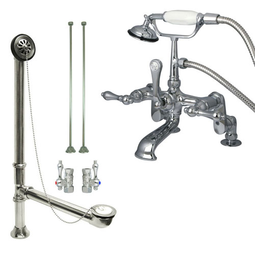 Chrome Deck Mount Clawfoot Bathtub Filler Faucet w Hand Shower Package CC652T1system
