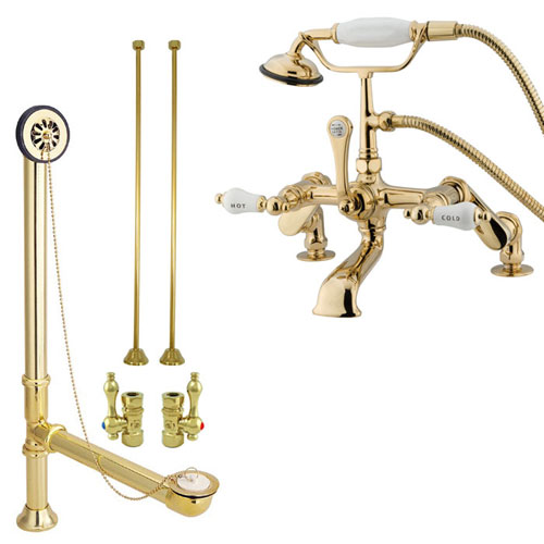 Polished Brass Deck Mount Clawfoot Bathtub Faucet w Hand Shower Package CC653T2system