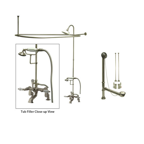 Satin Nickel Clawfoot Tub Shower Faucet Kit with Enclosure Curtain Rod 653T8CTS