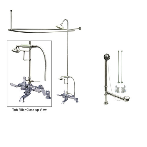 Chrome Clawfoot Tub Faucet Shower Kit with Enclosure Curtain Rod 654T1CTS