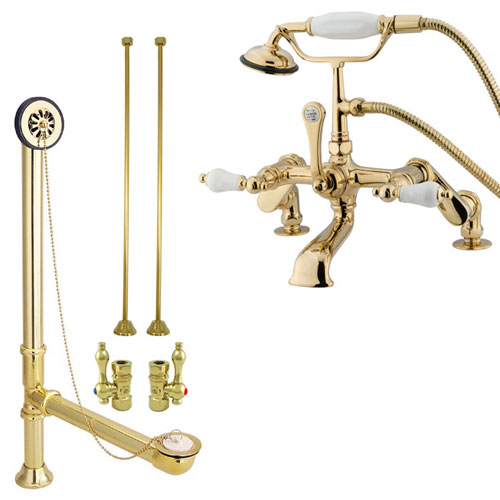 Polished Brass Deck Mount Clawfoot Tub Filler Faucet w Hand Shower Package CC655T2system
