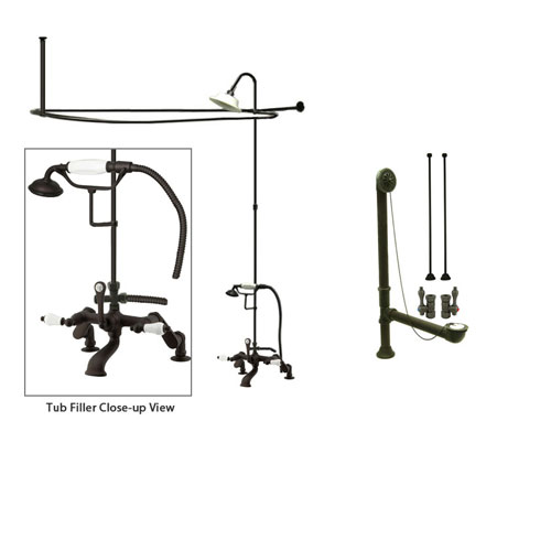 Oil Rubbed Bronze Clawfoot Bathtub Faucet Shower Kit with Enclosure Curtain Rod 655T5CTS