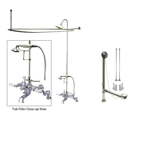 Chrome Clawfoot Tub Faucet Shower Kit with Enclosure Curtain Rod 656T1CTS