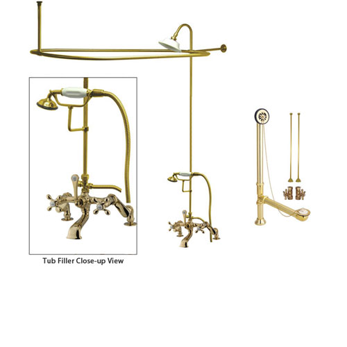 Polished Brass Clawfoot Tub Faucet Shower Kit with Enclosure Curtain Rod 657T2CTS