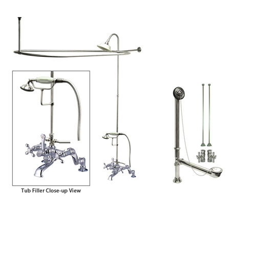 Chrome Clawfoot Tub Faucet Shower Kit with Enclosure Curtain Rod 658T1CTS
