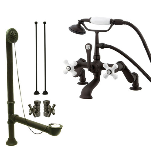 Oil Rubbed Bronze Deck Mount Clawfoot Bathtub Faucet w Hand Shower Package CC659T5system