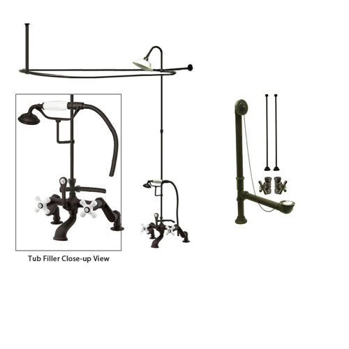 Oil Rubbed Bronze Clawfoot Tub Shower Faucet Kit with Enclosure Curtain Rod 659T5CTS
