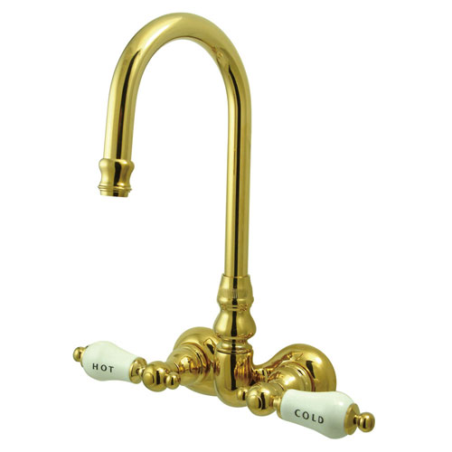 Kingston Brass Polished Brass Wall Mount Clawfoot Tub Filler Faucet CC73T2