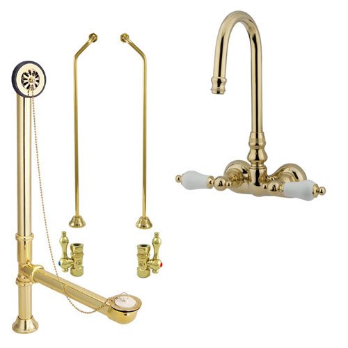 Polished Brass Wall Mount Clawfoot Tub Faucet Package Supply Lines & Drain CC75T2system