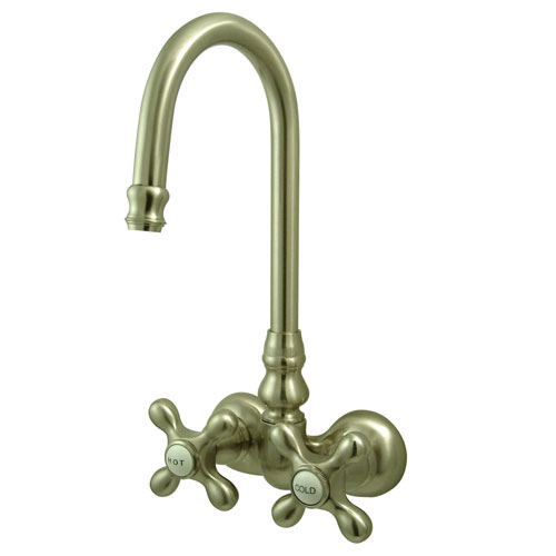 Kingston Brass Satin Nickel Wall Mount Clawfoot Tub Filler Faucet CC77T8