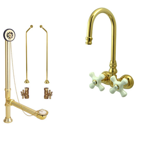 Polished Brass Wall Mount Clawfoot Tub Faucet Package Supply Lines & Drain CC79T2system