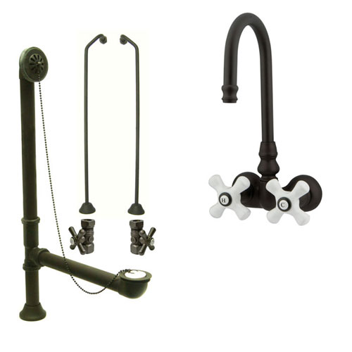 Oil Rubbed Bronze Wall Mount Clawfoot Bathtub Faucet Package CC79T5system