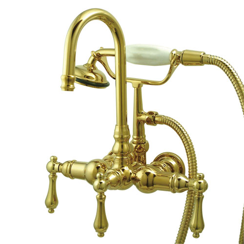 Kingston Polished Brass Wall Mount Clawfoot Tub Faucet with Hand Shower CC7T2