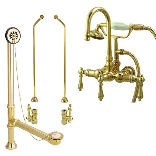 Polished Brass Wall Mount Clawfoot Bathtub Filler Faucet w Hand Shower Package CC7T2system