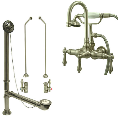 Satin Nickel Wall Mount Clawfoot Bathtub Filler Faucet w Hand Shower Package CC7T8system
