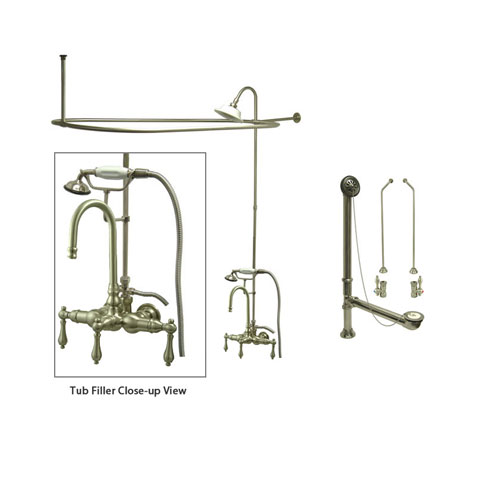 Satin Nickel Clawfoot Tub Faucet Shower Kit with Enclosure Curtain Rod 7T8CTS