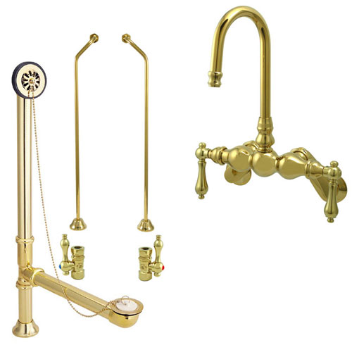 Polished Brass Wall Mount Clawfoot Tub Faucet Package Supply Lines & Drain CC81T2system