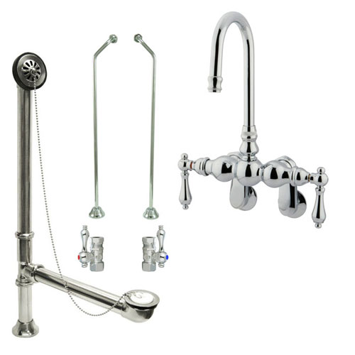 Chrome Wall Mount Clawfoot Bathtub Faucet Package Supply Lines & Drain CC82T1system
