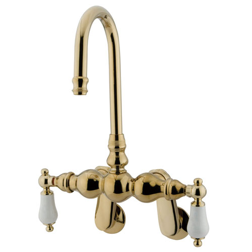 Kingston Brass Polished Brass Wall Mount Clawfoot Tub Filler Faucet CC83T2